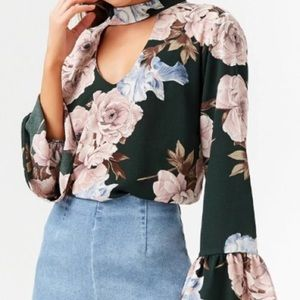 Forever 21 Floral V-Cutout Top